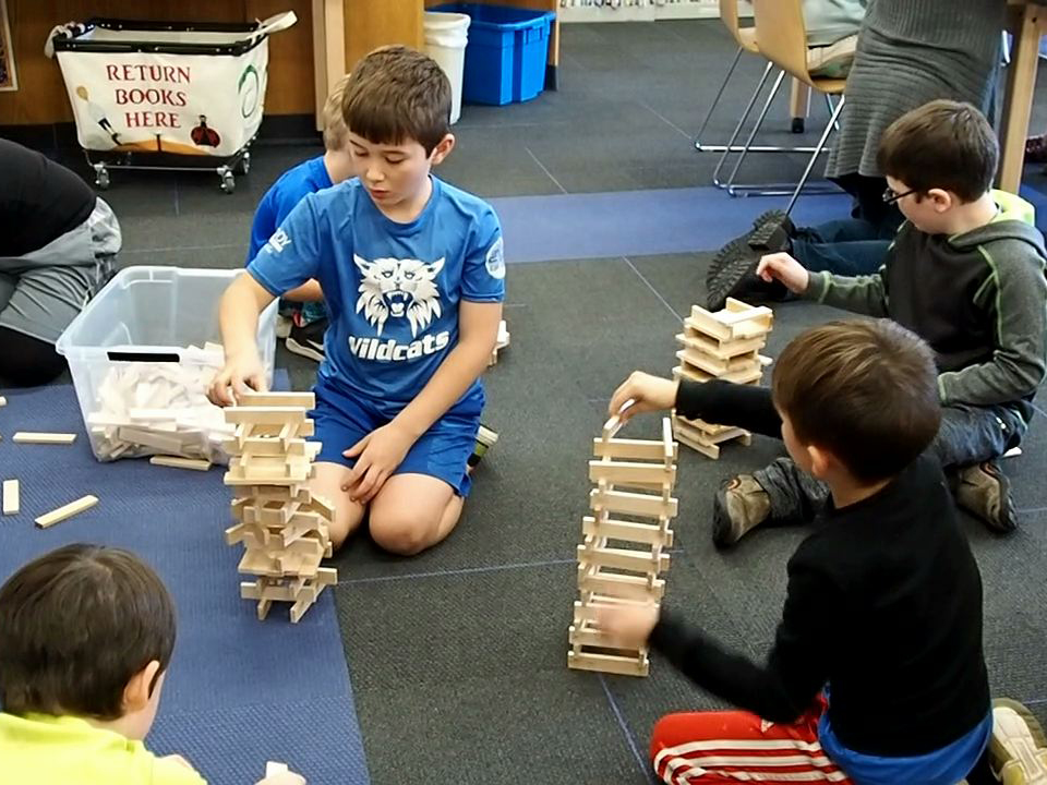 Students explore the relationship between precision and stability by designing towers and bridges.