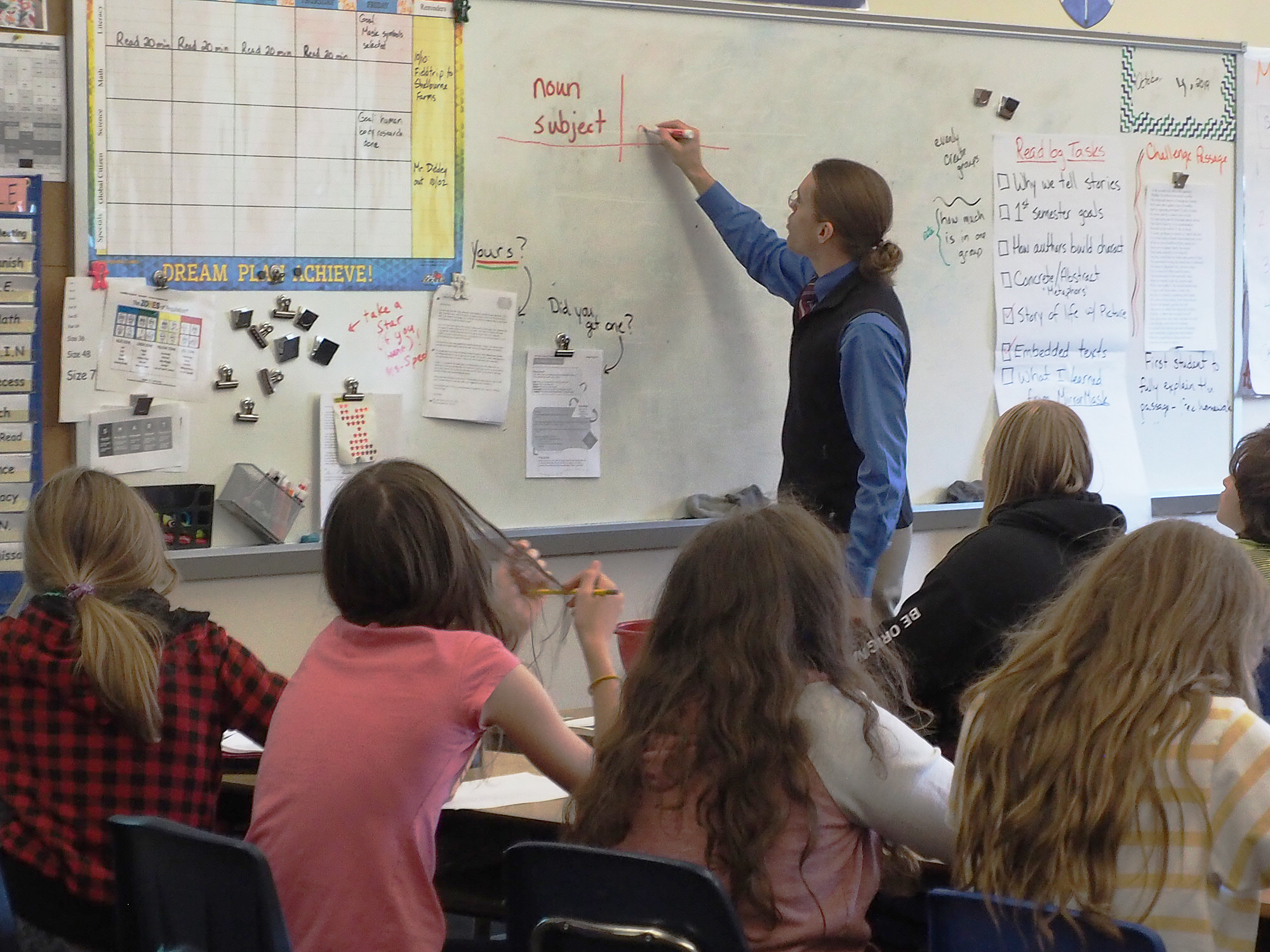 Subject and predicate are the subject of this 6th-grade literacy session.