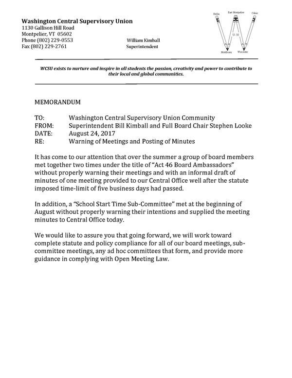Memo Re Warning Of Meetings  Posting Of Minutes